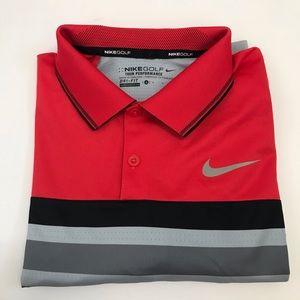 Nike Golf Innovation Stipe Polo Shirt Dri Fit Red